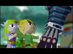 Link confronts Zelda's attacker.