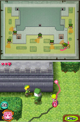 Controlling both Link and Zelda at the same time.