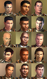 Male character faces