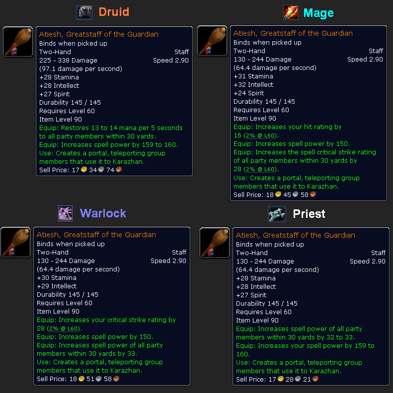 Stats for Atiesh in World of Warcraft.
