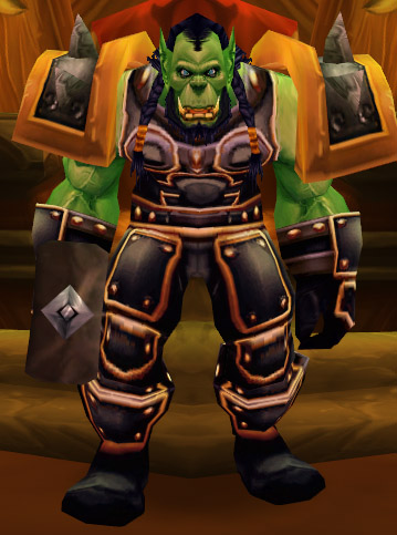 Thrall as he is seen in his throneroom in World of Warcraft