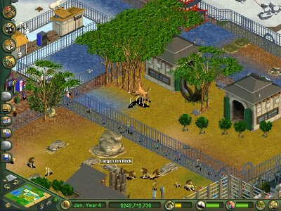 A basic zoo in Zoo Tycoon.