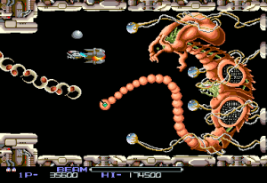 It may be a weird death alien, but the final boss of R-Type has the curled body and undeveloped skin associated with a fetus. Also: Missiles.