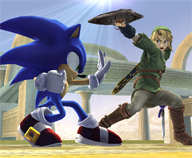 Sonic squaring off against Link.