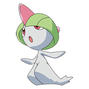 Ralts, a rare psychic type native to both versions.