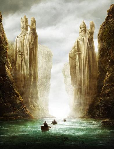 The Pillars of the Kings on the Great River Anduin