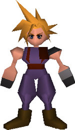 Cloud's FF VII In-game field model; fully with hoof-hands and no mouth.