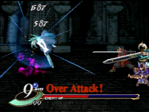 Performing an overkill attack on an enemy.