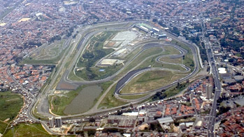 An aerial view of Interlagos Race Track.