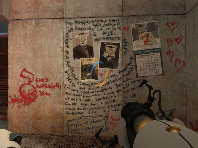 Mad scribblings found in one of the hidden rooms in Portal