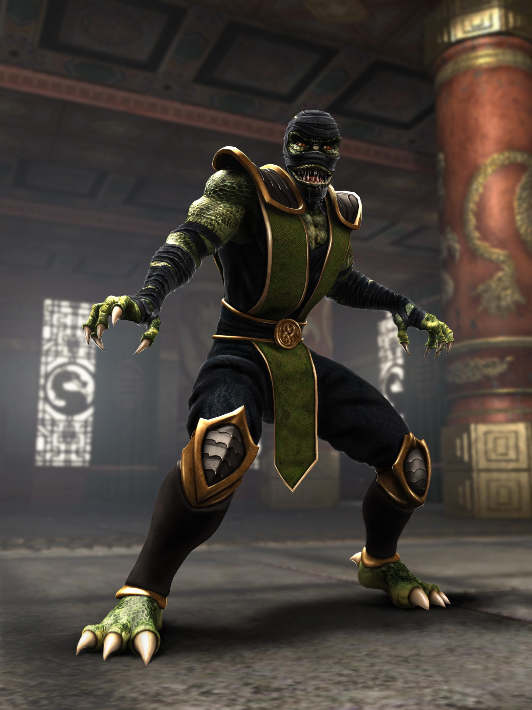 Reptile's semi-reptilian appearance in Mortal Kombat: Shoalin Monks and Mortal Kombat: Armageddon
