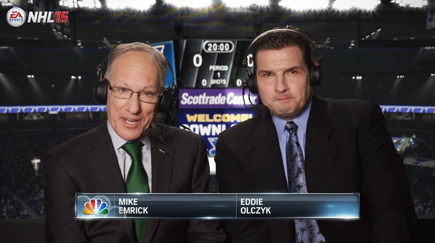 I like Mike Emrick and Eddie Olczyk as commentators, but the stuff they provide for NHL 15 isn't good.