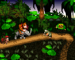 Donkey Kong riding on Rambi the Rhino, with Diddy Kong tailing behind.