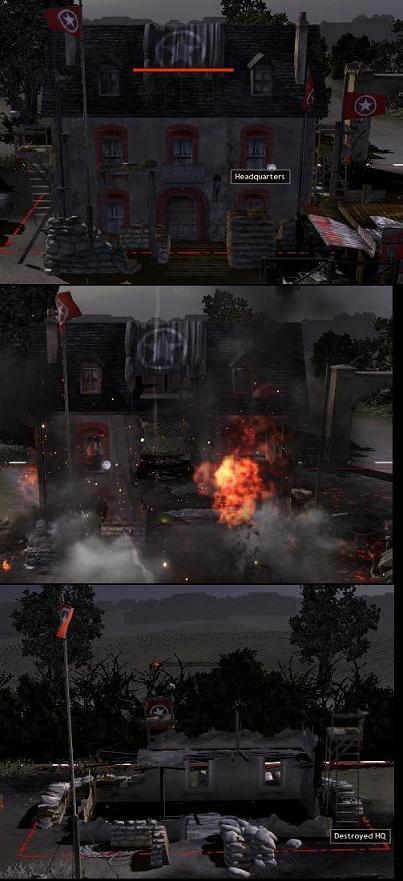An HQ's progression of destruction