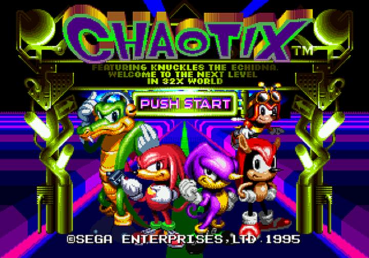 Left to right: Vector, Knuckles, Espio, Charmy on top of Mighty