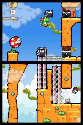 Example of the games dual-screen design.