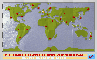 World map screen showing different plots of land available for purchase.