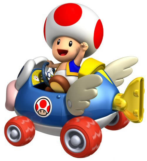 Toad driving one of the character-themed karts