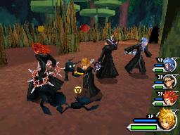 Gameplay screenshot of the Organization fighting together in Wonderland