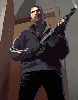 Niko with a shotgun