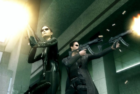Trinity and Neo during the lobby firefight in The Matrix: Path of Neo.