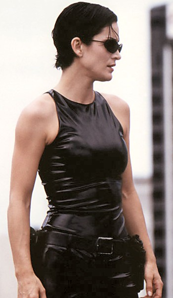 Trinity being played by Carrie-Ann Moss in The Matrix.