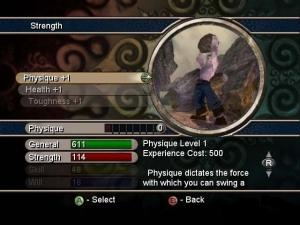Strength Attribute Screen