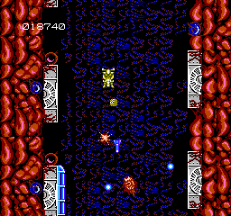Abadox features a mix of side-scrolling and vertical levels.