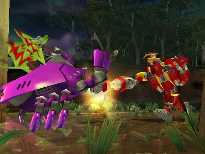 Ty battles against a Frill Lizard mech in his Bunyip power suit.
