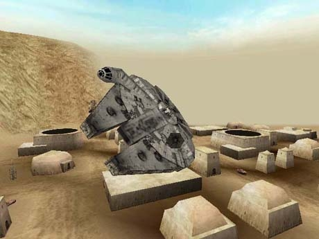 The Millennium Falcon flying over Mos Eisley.