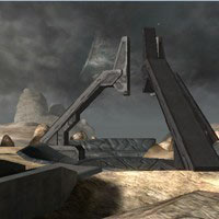 A view of the rotating relay tower, located in the middle of the map.
