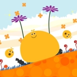 Your LocoRoco. It starts off yellow, but you will be able to find more of different colors.