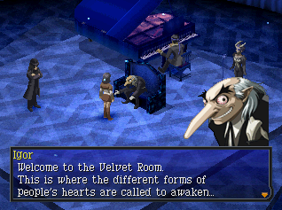 Igor as he appears in Persona 2: Eternal Punishment.