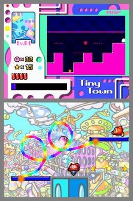 Kirby riding a loop to loop rainbow
