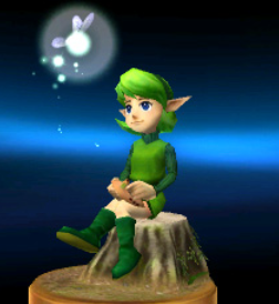 Saria as she appears in trophy form in Super Smash Bros. for Nintendo 3DS.