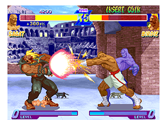 Sagat performing a Tiger Cannon on Birdie in Street Fighter Alpha.
