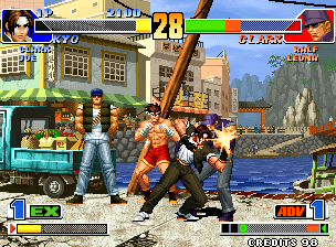 In early KOF games, each player's teammates waited in the background