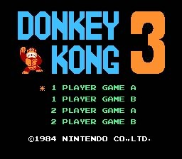 The title screen to Donkey Kong 3.