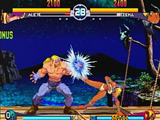 Alex parrying an attack from Elena in Street Fighter III: New Generation