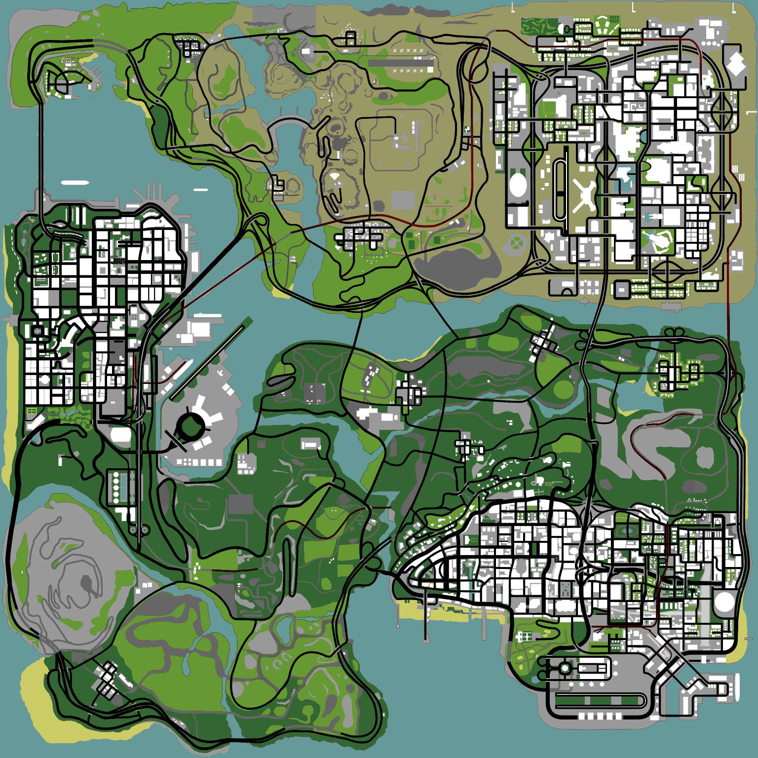 A map of the state of San Andreas.