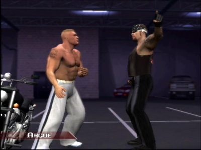 Lesnar argues with Taker