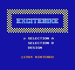 Excitebike, title screen for the NES version.