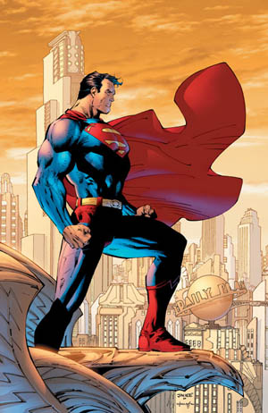 The Man of Steel surveys Metropolis.