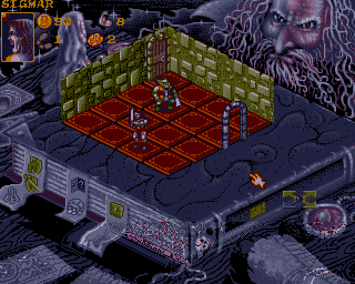 The game features a mouse-driven isometric interface reminiscent of the game Populous.