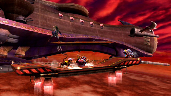 Playing with four friends on the Kirby stage. You could actually get distracted by the sights and sounds.