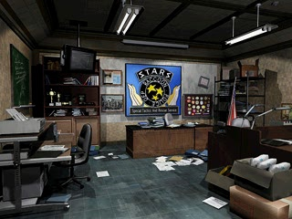 A shot of the STARS office, directed at Wesker's desk