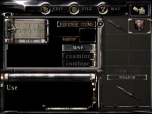 Chris Redfield's 6-slot inventory screen