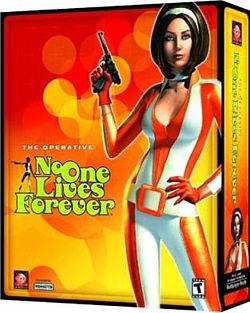 Cate Archer on the No One Lives Forever box art.