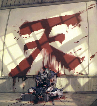 An illustration by UDON of Gouken's apparent death.