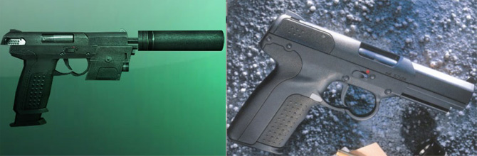 Left: SC-Pistol (Splinter Cell: Chaos Theory); Right: FN Five seveN Tactical